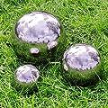 3 Garten Deko Kugeln aus silber poliertem Edelstahl 9cm 13cm und 18cm Durchmesser