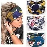 Yean - Fascia per capelli da yoga in stile boho, con stampa floreale e turbante, alla moda, per donne e ragazze…