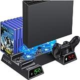 Supporto Verticale PS4, BEBONCOOL Stazione di Ricarica per Dual Controller con Indicatori LED e Conservazione per 12 Giochi,