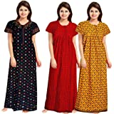 NEGLIGEE Women's Cotton Printed Ankle Length Nighty(Pack of 3)