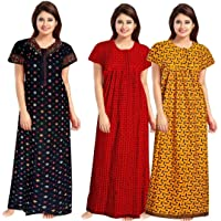 NEGLIGEE Women's Cotton Geometric Printed Night Gown Nighty Combo Pack of 3 - (Multicolour, Free Size)