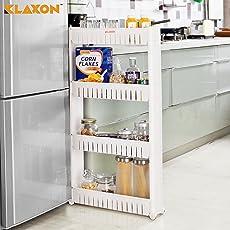 Klaxon PP Plastic 4-Tier Bathroom Kitchen Storage Organizer Shelf with Wheels (White)