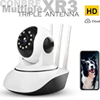 Conbre MultipleXR3 V380 Pro Smart WiFi Wireless HD CTV Security Camera with TAM (Triple Antenna Multiplexing) Connectivity | Night Vision | Two-Way Audio | Up to 64 GB microSD Card Slot