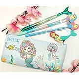Tera13(Pack of 5 Items ) Mermaid Pencil Pouch with Mermaid Gel Pen Mermaid Glitter Pen Mermaid Pencil Mermaid Eraser a Mermai