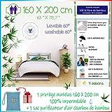 4Guardians🌙 Protege Matelas 160x200, Imperméable Housse Anti acarien Housse Matelas Fibre 100% Bambou + 1 Sac de Charbon Bam