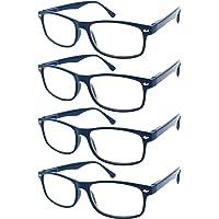 TBOC® Lunettes de Vue Lecture Presbyte - (Pack 4 Unités) Dioptrie +1.00 Monture Bleu pour Femme Homme Unisexe Loupes de…