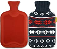 AQUAPAPA Large 1/2 Gallon Classic Non Toxic Natural Rubber Hot Water Bottle with Snow Flake Knit Cover, Back Pain Relief, Co