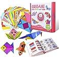 Gamenote color kit de origami para niños 108 archivo de origami vívido de doble cara 55 páginas que enseña libro de origami,