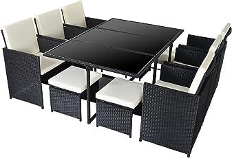 Merax Polyrattan Gartenmöbel Set Sitzgruppe klappbare Lounge Essgruppe11/9 PCs