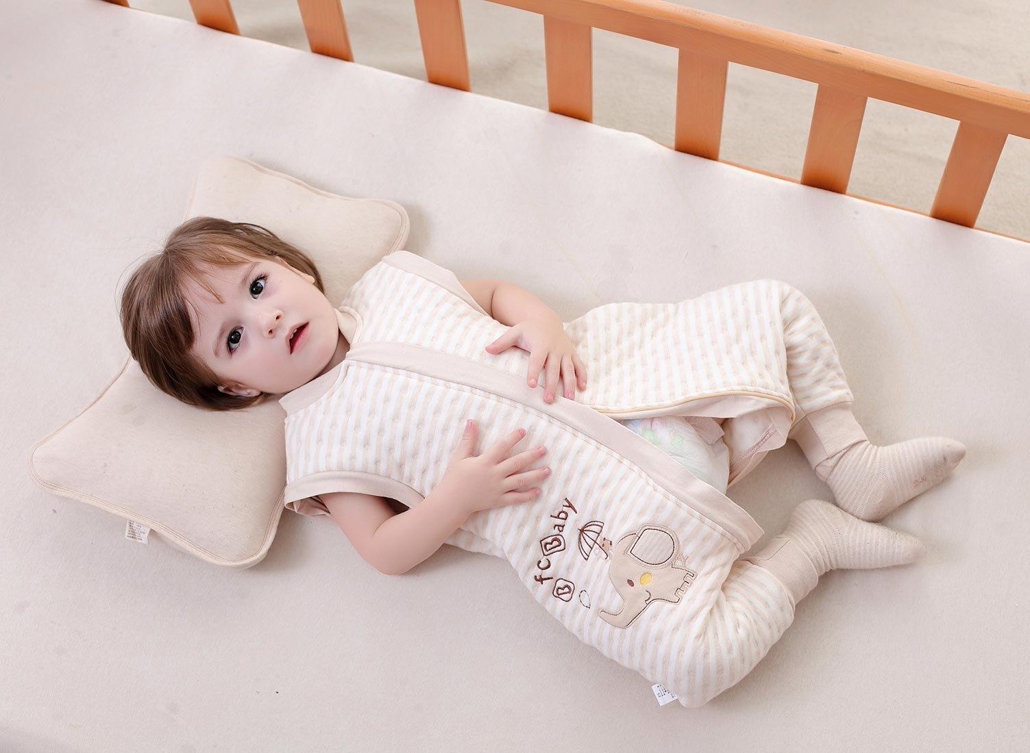 Happy Cherry – Bebés Niños Niñas Saco de Dormir Infantil Mono Pijama de Algodón con Pies Mangas Largas Desmontables Cremallera Mameluco Estampado 3D Dibujos Animados Cartoon