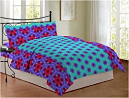 Bombay Dyeing 104 TC Cotton Double Bedsheet with 2 Pillow Covers - Floral,Aqua