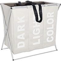WENKO Panier à lingeTrio beige - 3 compartiments à linge Capacité: 130 l, Polyester, 63 x 57 x 38 cm, Beige