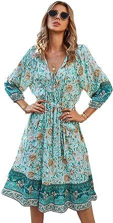 OrientalPort Abito da donna, stile boho, elegante, con scollo a V, stile casual, a maniche lunghe, da spiaggia, con cintura