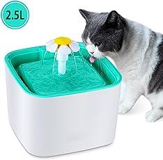 Parner Katzen Trinkbrunnen 2,5L Automatischer Katzenbrunnen Pet Fountain, Haustier Wasserspender Sehr Leiser Hundetrinkbrunnen mit 2 Austauschbaren Filtern für Hunde und Katzen