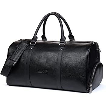 908ee73902 BOSTANTEN Men s Genuine Leather Travel Bag Weekend Overnight Duffel Luggage  Bags for Gym Sports