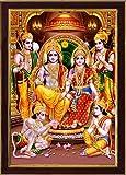 SAF Ram Darbar Sparkle Coated Framed Home Decorative Gift Item Painting (13.25 inch x 9.25 inch) SAFR3276