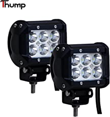 Thump 6 Fog Square Waterproof LED Work Light Bar 12V-24V with Mounting Brackets for Vehicles Off Road Driving (18W, Pack of 2)