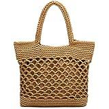 JOSEKO Stroh Handtasche, Schultertasche Damen Net Pocket Baumwolle Handgewebte Strohbeutel Strandtasche Korbtasche Basttasche