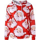 Women Christmas Hoodies Coat, Ladies Xmas Santa Printed Long Sleeve Pullover Outwear
