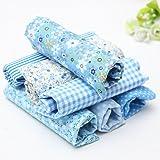 KING DO WAY 7 Stueck Baumwollstoff Stoffpakete Patchwork Stoffe Baumwolle tuch Stoffreste Paket Blau 50x50cm