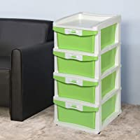 Nilkamal CHST24 Plastic Four Layers Chest of Drawer Cabinet ( Cream and Pista Green)