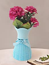 TIED RIBBONS Flower Vases with Artificial Flowers (25 cm X 10 cm) | Flower vase with Flowers | Flower for vase for Living Room | Decorative Vases and pots
