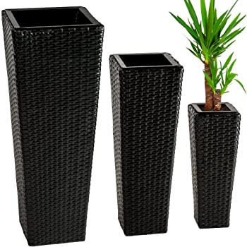 TecTake Lot de 3 Pots de fleurs en rotin résine tressée avec 3 pots intérieurs amovibles | - diverses couleurs au choix - (Noir | no. 401642)