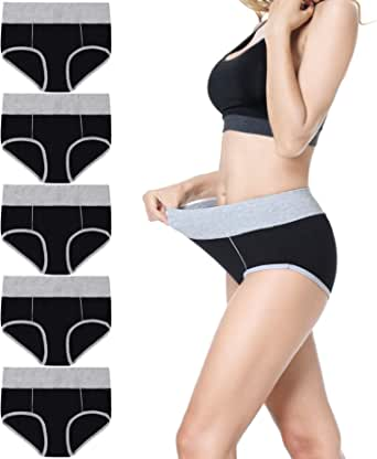 Falechay Women's Knickers Soft Cotton Underwear for Women Pack of 6/5 Ladies Mid / High Rise Briefs Basic