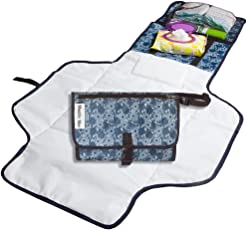 Diaper Changing Pad - Beautiful Designer Diaper Changing Mat. Built In Head Cushion - Portable Diaper Changing Station for Travel and Home.
