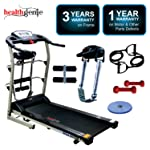Healthgenie 6in1 Motorized Treadmill 4112M 2HP with Massager, Sit-ups, Tummy Twister, Dumbbells, Resistant Tubes for Home...