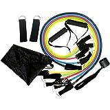 11 قطعة مجموعة حزام مقاومة للياقة البدنية مع أربطة تمرين قابلة للصف وأشرطة كاحل الأرجل متعددة الوظائف معدات اللياقة البدنية ا