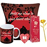 Next Bazaar Valentines Birthday Day cushion cover with filler( Red 12 x 12 ) Mug 330 ml and 1 Artificial rose combo gift