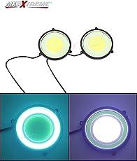 "AllExtreme 2Pcs Super Bright 72mm (2.83"" Diameter) Round COB LED Switchback Daytime Running Lights, Side Turn Signal Lights, Fog Lights"