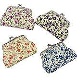 mciskin 4 pezzi mini Floreale portamonete portafoglio da donna borsa portamonete piccolo carino borsa portaoggetti per chiavi