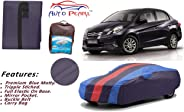 Auto Pearl Tripple Stitched Red Navy Sky Blue Matty Multi Color Car Body Cover with Mirror Pockets, Buckle Belt & Carry Bag f