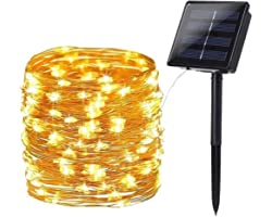 Solar Lichterkette Aussen, BrizLabs 24M 240 LED Außen Lichterkette Wasserdicht Kupferdraht Solarlichterkette 8 Modi Deko für