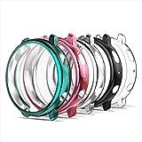 Simpeak 5-pack skärmskydd fodral kompatibelt med Samsung Galaxy Watch Active 2 40 mm, TPU mjukt skärmskydd stötskydd, rosa+bl