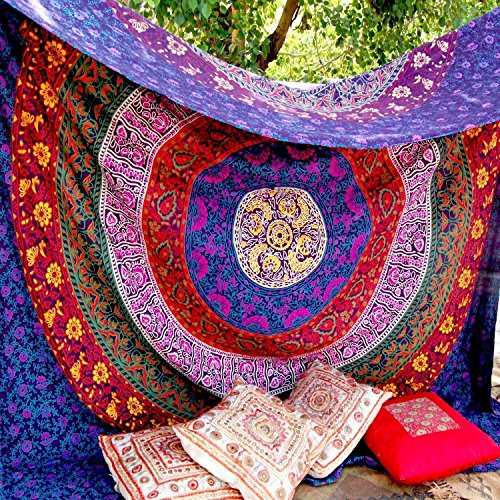 Unique Indian Hippie Mandala Multi Color Tapestry by Craftozone (220x140 - Hippie Mandala