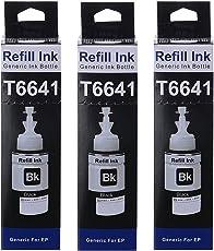 Flowjet T6641 Refill Ink for Epson Printers L100/L110/L130/L200/L210/L220/L300/L310/L350/L355/L360/L365/L455/L550/L555/L565/L1300 (Black) (Set of 3)