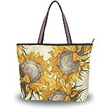 JSTEL Große Damen-Handtasche mit Tragegriff und Sonnenblumen-Muster