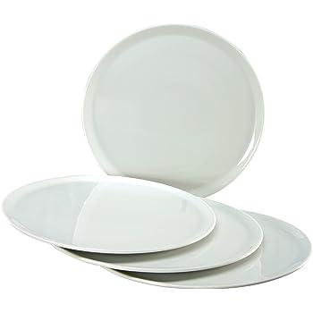 Creatable 17869, Europa bianco piatti pizza, 33cm, 4pezzi, set da 4