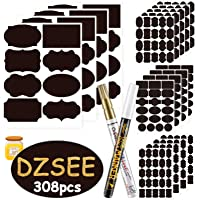 DZSEE®308x Etichette di Lavagna per Barattoli Riutilizzabile + 2 Marcatore di Gesso Rimovibile, Etichette Impermeabili…