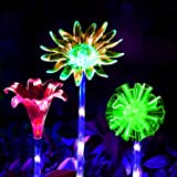 LED Luces Solar exterior Impermeables Luz,MMTX 3 Piezas jardín Luces de juego solar cambio de color Fibra óptica al aire libr
