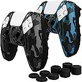 Fosmon Halkfri hud skyddande fodral kompatibel med Playstation PS5 DualSense Controller (2-pack – kamouflage svart/blå), svet