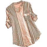 t-Shirt Donna a 3/4 Maniche Taglia Grossa Camicia a v con Stampa a Righe Top Aderente Maglietta Casual Camicetta di Moda