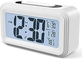 Annsky Despertador Digital, LCD Pantalla Reloj Alarma Inteligente Simple y con Pantalla de Fecha y Temperatura Función Despertador, función Snooze y luz Nocturna