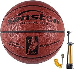 Senston Size 5/6/7 Basketball Outdoor/Indoor Basket Ball Street Game Basketball Basketballs with Pump, Needles, Basketball Net
