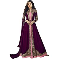 Nir Fashion Womens Georgette Embroidered Anarkali Semi Stitched Salwar Suit Gown(5535_Purple, Free Size)