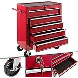 Arebos Werkplaatswagen | 5 vakken | centraal afsluitbaar | anti-slip coating | wielen met parkeerrem | massief metaal | rood