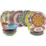 Villa D'Este Calamoresca Service de Table, Porcelaine et grès, Multicolore, 18 pièces